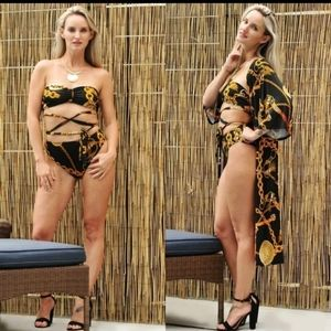 50% Clearance ⭐️ Black and Gold Swimsuit Set